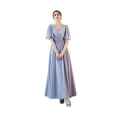 グレードレス ロングドレス スレンダーライン 6タイプ パーティードレス ワンピース ブライズメイド ロングドレス 結婚式 グレー ドレス