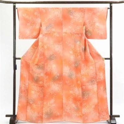 【中古】リサイクル着物 小紋 / 正絹ピンクオレンジぼかし袷小紋着物 / レディース【裄Mサイズ】(古着 リサイクル品 小紋 )