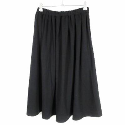 【中古】アーバンリサーチ ドアーズ URBAN RESEARCH DOORS スカート フレア ひざ丈 無地 One 黒 ボトムス レディース