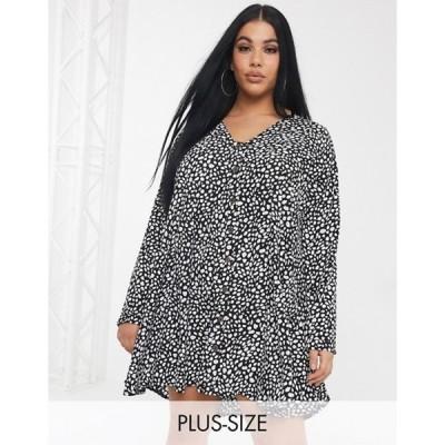 ミスガイデッド レディース ワンピース トップス Missguided Plus button through smock dress in polka dot print