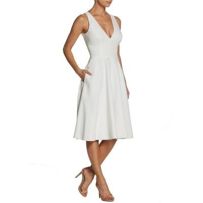 ドレスザポプレーション レディース ワンピース トップス Catalina Crepe V-Neck Sleeveless A-Line Dress Off White