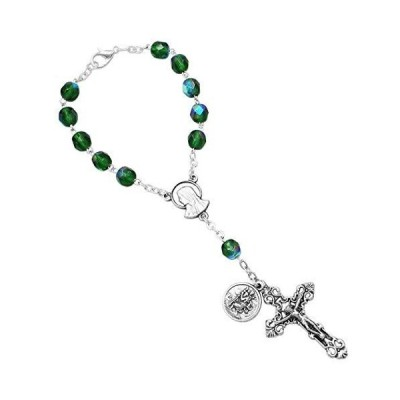 Rosemarie Collections Religious Gift One Decade Car Rosary with Saint Christopher Medal (Green Glass)【並行輸入品】