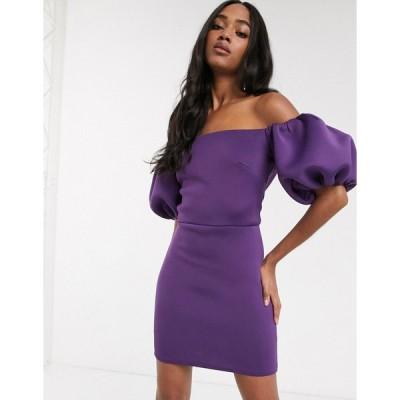 トゥルーバイオレット ミニドレス レディース True Violet extreme 80s puff sleeve mini dress in aubergine エイソス ASOS