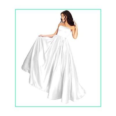 MYDRESS Women's Strapless Prom Dresses Long A-line Beaded Satin Wedding Dress with Pockets White C並行輸入品