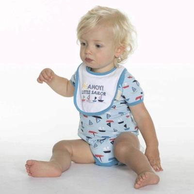 ベビーザらス限定 半袖ボディスーツ スタイ付 ヨット(ブルー×70cm)【クリアランス】