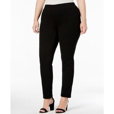 アイエヌシーインターナショナルコンセプト カジュアルパンツ ボトムス レディース INC Plus Size Skinny Pull-On Ponte Pants, Created for Macy's Deep Black