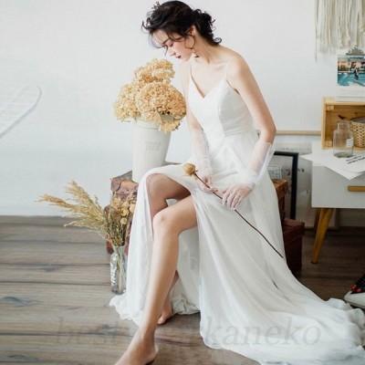 ウエディングドレス 海外旅行リゾートドレス 前撮りドレス 花嫁ドレス シンプル Aライン 白 ブライダルドレス 二次会 結婚式 ロングドレス パーティー 高級