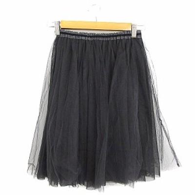 【中古】トッコ TOCCO closet スカート ギャザー ひざ丈 チュール チャコール /AAM31 レディース