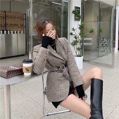 さり気なく旬を取り入れる激安セール 2020ニュースタイル 短いスタイル チェック柄 怠惰な風 ウール スーツ コート 気高い 韓国版 レトロ 千鳥格子 快適である 気質