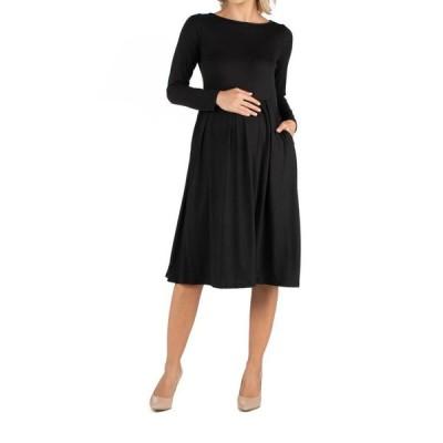 24セブンコンフォート レディース ワンピース トップス Midi Length Fit and Flare Pocket Maternity Dress