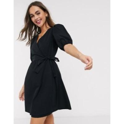 ニュールック レディース ワンピース トップス New Look puff sleeve wrap poplin mini dress in black Black