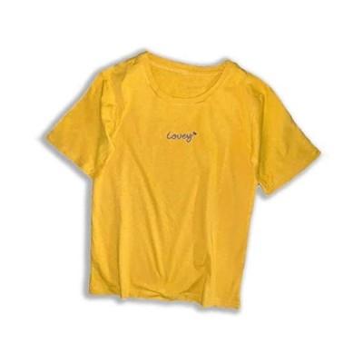 [ミケディ] ショートスリーブ ロゴ Tシャツ コットン レディース ワンポイント シンプル かわいい 7色 M〜XXL (イエロー (2).L)