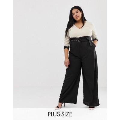 リトル ミストレス Little Mistress Plus レディース オールインワン ワンピース・ドレス contrast 2 in 1 wrap front jumpsuit in multi Multi