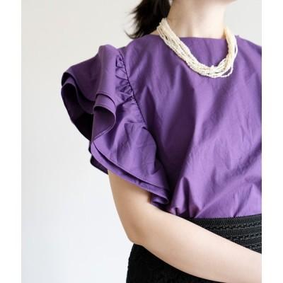 「cawaii french」トップス ブラウス 半袖 無地 コットン フリル パープル 紫