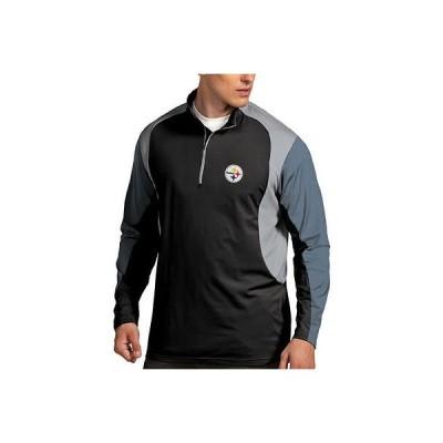 フットボール NFL アメリカ USA 全米 メジャー アンティグア Antigua Pittsburgh Steelers Black Beta 1 4 Zip Pullover Jacket