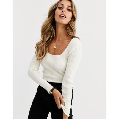 エイソス レディース ニット・セーター アウター ASOS DESIGN scoop neck long sleeve sweater in fine knit rib