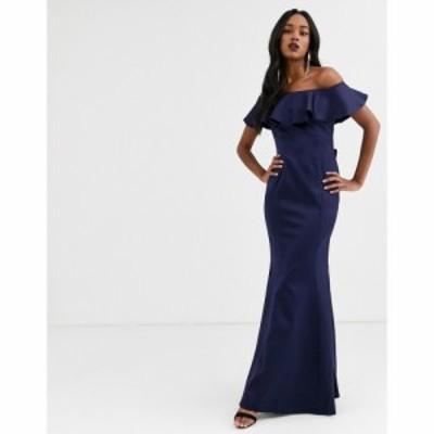 シティゴッデス City Goddess レディース ワンピース マキシ丈 ワンピース・ドレス Bardot Frill Satin Maxi Dress With Bow Detail ネイ