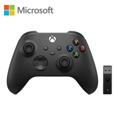 微軟Xbox無線控制器(磨砂黑)+ Windows 10專用無線轉接器套組