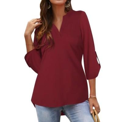 レディース 衣類 トップス Women 3/4 Sleeve Notch V Neck Asymmetric Hem Shirt ブラウス&シャツ