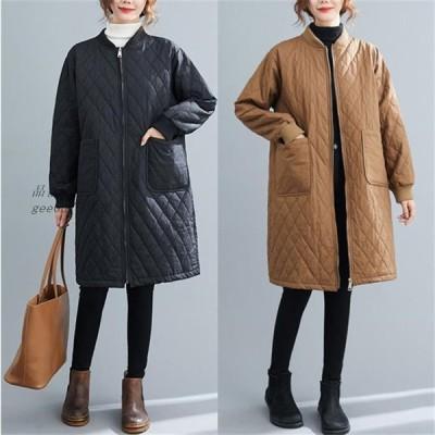 レディース 中綿コート キルティングコート 綿入れ ロング スタンドカラー 軽量 女子アウター 秋冬