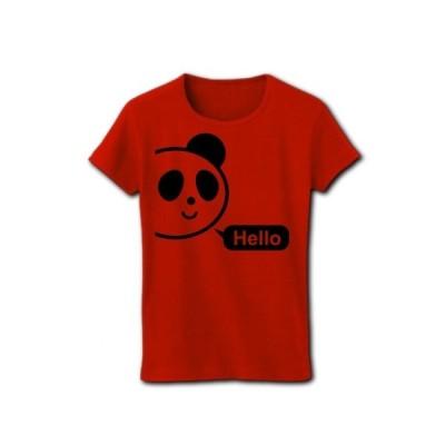 Helloぱんだ リブクルーネックTシャツ(レッド)