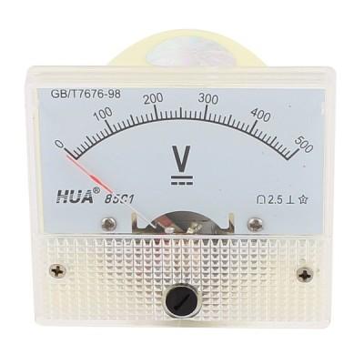 uxcell アナログ電圧計 DC電圧パネルメータ クラス2.5精度 アナログ DC0V-500V プラスチック 64 x 56 x 11mm