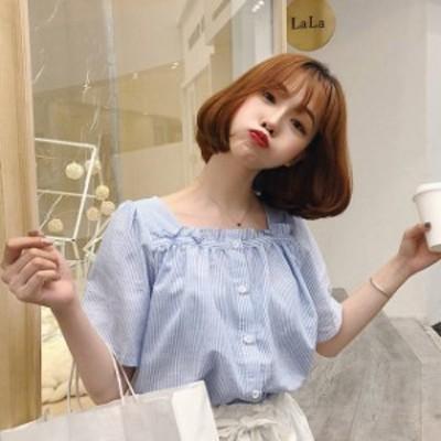 韓国 ファッション レディース トップス ブラウス シャツ ストライプ フリル ゆったり スクエアネック 半袖 ガーリー シンプル