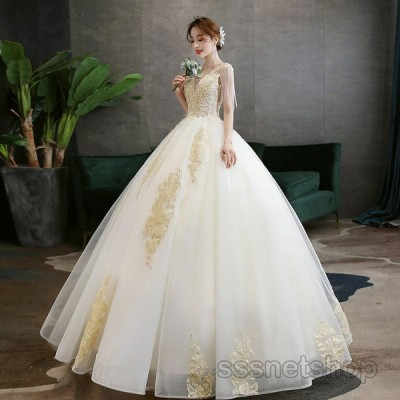 ウェディングドレス 結婚式 花嫁ドレス ノースリーブ 二次会 披露宴 プリンセスドレス 大人 ロングドレス パーティードレス 演奏会 2020新作【sssnetshop】