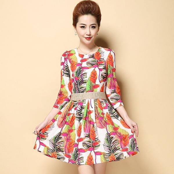 卡樂store...中大尺碼女裝韓版印花棉麻連身裙修身顯瘦 S-3XL #dno1118