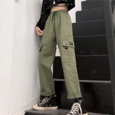 パンツ レディース カーゴパンツ テーパードパンツ ウエストゴム マジックテープ裾 サイドポケット