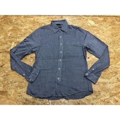 URBAN RESEARCH アーバンリサーチ サイズ40 メンズ シャツ 長袖 無地 胸ポケット付き ボタン糸が赤色 ネイビー 紺