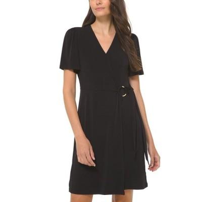 マイケルコース ワンピース トップス レディース Plus Size O-Ring Faux-Wrap Dress Black