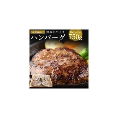 ふるさと納税 DY005 老舗肉屋のこだわりA4等級以上の博多和牛入りハンバーグ 150g×5枚 約750g 福岡県宇美町