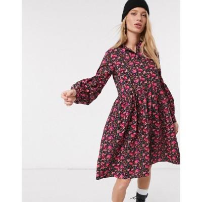 ヤス ミディドレス レディース Y.A.S midi smock dress in burgundy floral エイソス ASOS