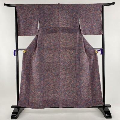 小紋 美品 秀品 松竹梅 建物 縮緬 赤紫 袷 身丈159cm 裄丈64.5cm M 正絹 中古