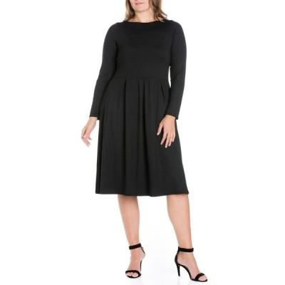 24セブンコンフォート ワンピース トップス レディース Women's Plus Size Fit and Flare Midi Dress Black