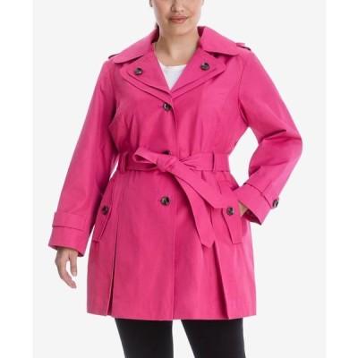 ロンドンフォグ レディース コート アウター Plus Size Hooded Belted Trench Coat