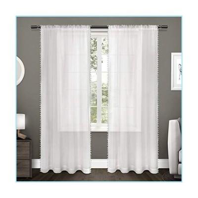 新品Exclusive Home Curtains Pom Embellished Sheer Rod Pocket Top Curtain Panel Pair, 54x96, Winter White, 2 Count