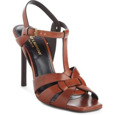 イヴ サンローラン SAINT LAURENT レディース サンダル・ミュール シューズ・靴 Tribute T-Strap Sandal Caramel Leather