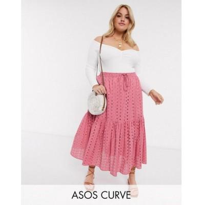 エイソス ASOS Curve レディース ひざ丈スカート ティアードスカート スカート Asos Design Curve Tiered Broderie Midi Skirt In Rose ローズ