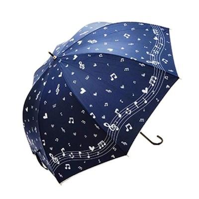 ドーム型傘 レディース 女性用 雨傘 ドーム傘 傘 深い ドーム型長傘 シルバーラメ 60cm 音符 ネイビー