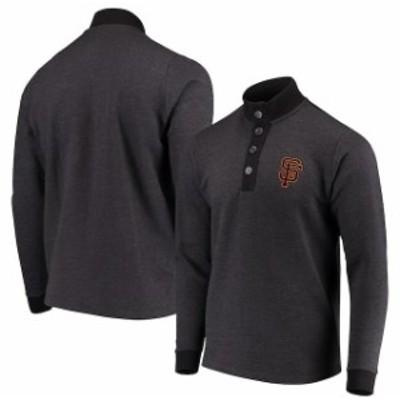 Antigua アンティグア 服 スウェット Antigua San Francisco Giants Black Pivotal Button Pullover Sweatshirt