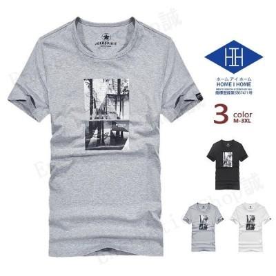 Tシャツ メンズ 半袖 プリント イラスト ストリート クルーネック アメカジ コットン