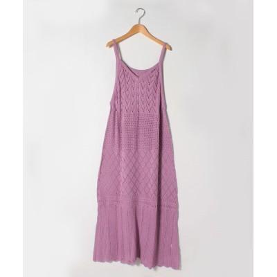 (A HAPPY MARILYN/アハッピーマリリン)さらりと心地よい 涼やか 透かし編み 美人 ロング ワンピース/レディース ラベンダー