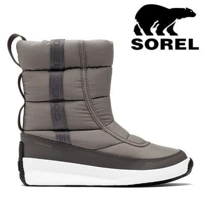 ソレル レディース ブーツ アウトアンドアバウトパフィーミッド Sorel 防寒 グレー NL3804