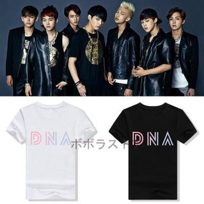 新品  BTS(防弾少年団) DNA  Tシャツ 半袖 打歌服  応援服  グッズ レディース メンズ 男女兼用 春夏Tシャツ   韓流グッズ 4色