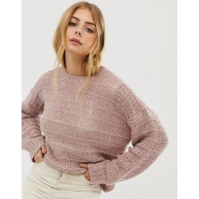 ラガ レディース ニット&セーター アウター Raga Kaylie loose knit sweater Lilac