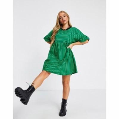 エイソス ASOS DESIGN レディース ワンピース ワンピース・ドレス Super Oversized Frill Sleeve Smock In Green And Black Stripe