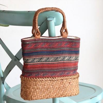 ガジャリキリムと山ぶどうのかごバッグシンプルボーダー/かごは網代編み・小判型・削り仕上げ
