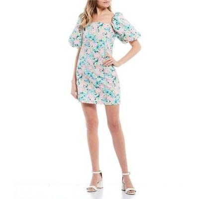 ジービー レディース ワンピース トップス Square Neck Floral Printed Poplin Dress